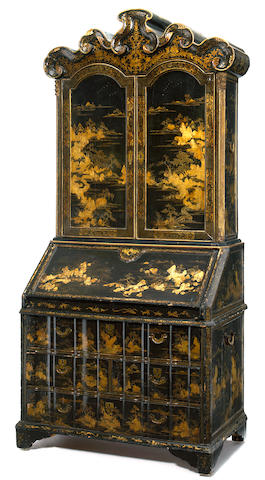 A George II laquered secretary cabinet <BR />early 18th century