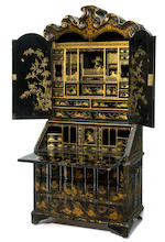 An impressive Chinese Export black and gilt lacquer secretary cabinet  probably made for the Danish market mid 18th century