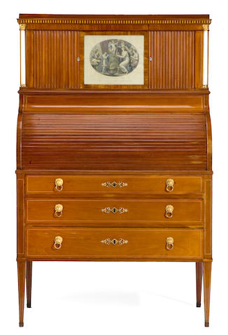 A Baltic Neoclassical inlaid mahogany cylinder writing desk