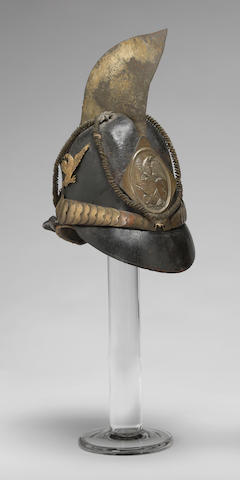 A dragoon helmet and commission of Sergeant John Harris, 7th New York Dragoon Regiment