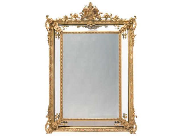 A Napoleon III carved giltwood and gesso mirror <br>third quarter 19th century