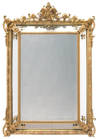 A Napoleon III carved giltwood and gesso mirror