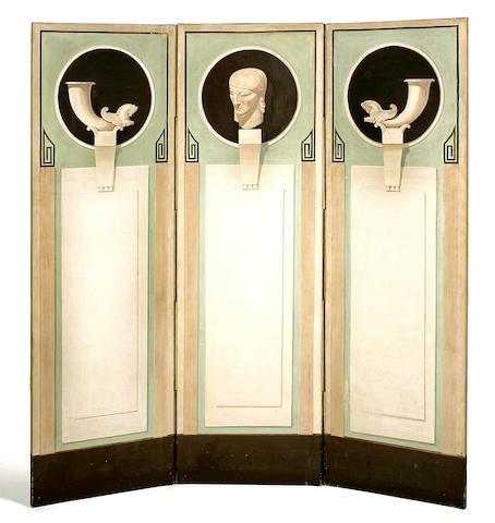 A French Art Deco three-panel painted screen, attributed to Boris Lovet Lorski circa 1940