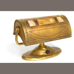 A Tiffany Studios Turtleback tile and gilt bronze desk lamp circa 1910