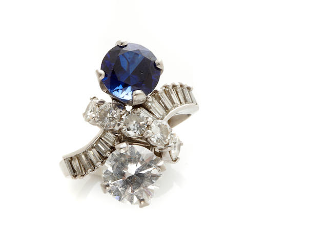 A sapphire, colorless stone, diamond and 14k white gold bypass ring