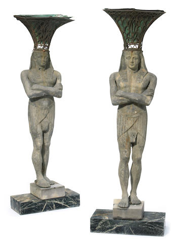 A pair of Continental lead figures  late 19th/early 20th century