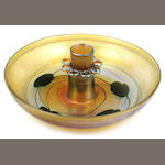 A Tiffany Studios decorated Favrile glass flower bowl and frog circa 19