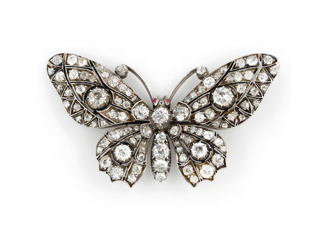 A diamond butterfly jewelry component