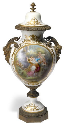 A Sèvres style porcelain gilt bronze mounted covered vase <BR />late 19th century
