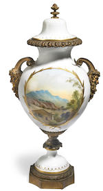 A Louis XV style gilt bronze mounted porcelain covered vase