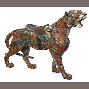 A Dentzel carousel tiger **on inspection**