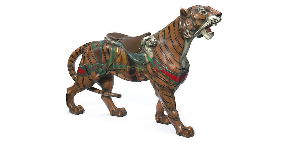 A Fine carved and painted carousel tiger  Gustav Dentzel, Philadelphia circa 1905