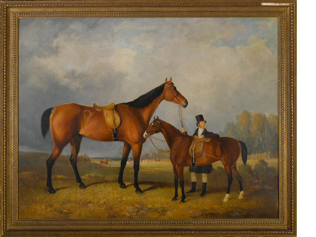 Follower of William Barraud (British, 1810-1850) A groom with his hack holding his master's horse 30 x 38 3/4in