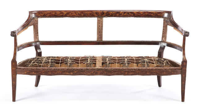 A Dutch Neoclassical marquetry inlaid settee<br>early 19th century