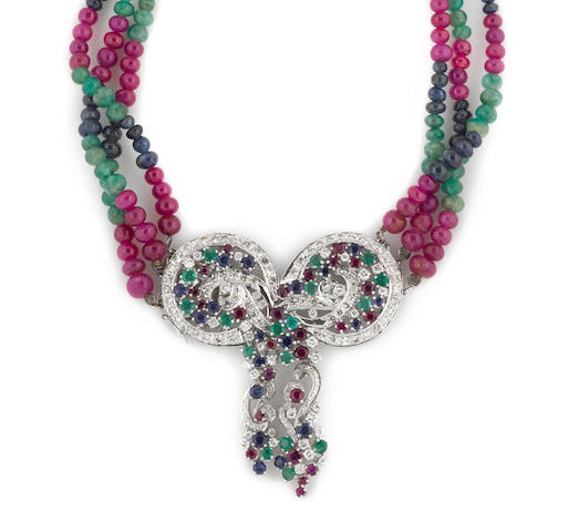 A gem-set, gem bead and diamond bow motif necklace