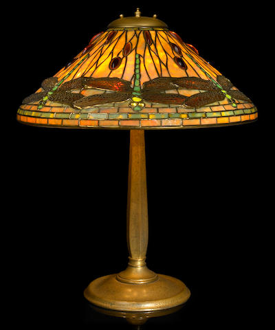 A Tiffany Studios Favrile glass and gilt-bronze Dragonfly lamp 1899-1918