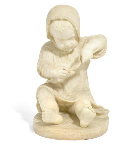 An Italian carved alabaster figure of a child <BR />early 20th century