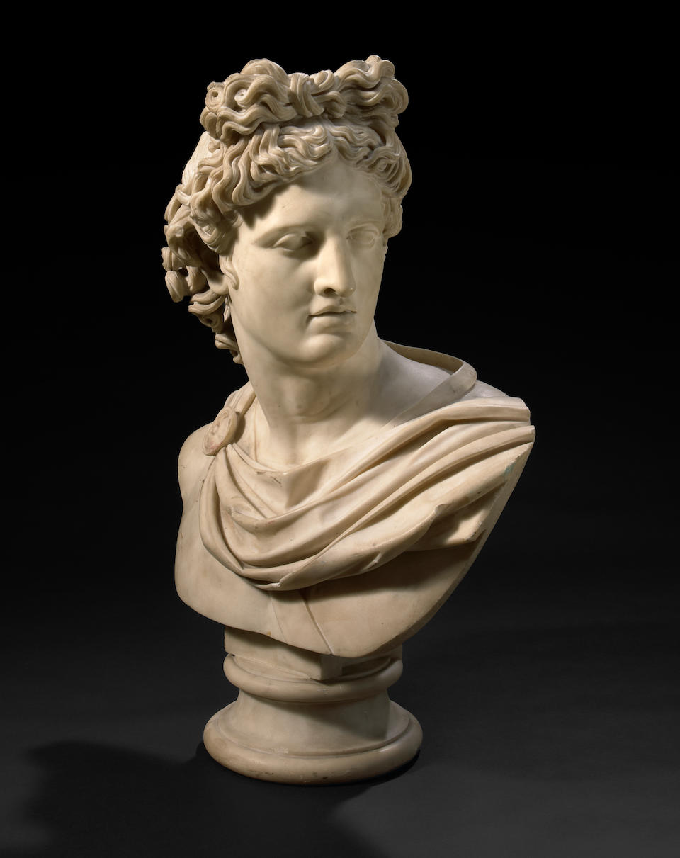 A very good quality Italian carved marble bust of the Apollo Belvedere  Camillo Pacetti (Italian, 1785-1826) circa 1815