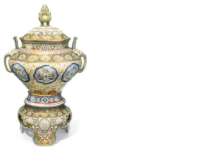 An imposing Japanese covered vase on stand, late 19th century