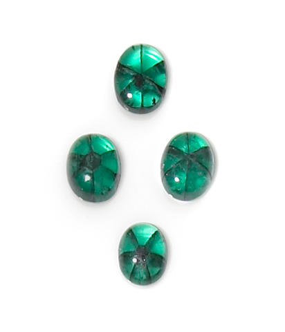 Set of Four Trapiche Emeralds