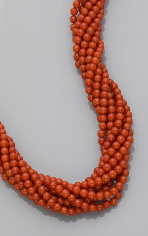 Fine Red Coral Torsade Necklace
