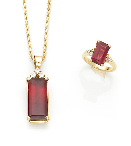 Bi-Color Tourmaline and Diamond Pendant; Together with a Rubellite Tourmaline and Diamond Ring