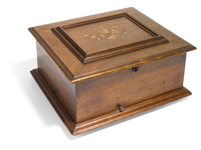 A Polyphon mahogany marquetry inlaid disc music box music box  <BR />fourth quarter 19th century