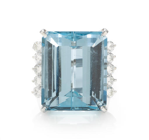 An aquamarine and diamond ring, Cartier