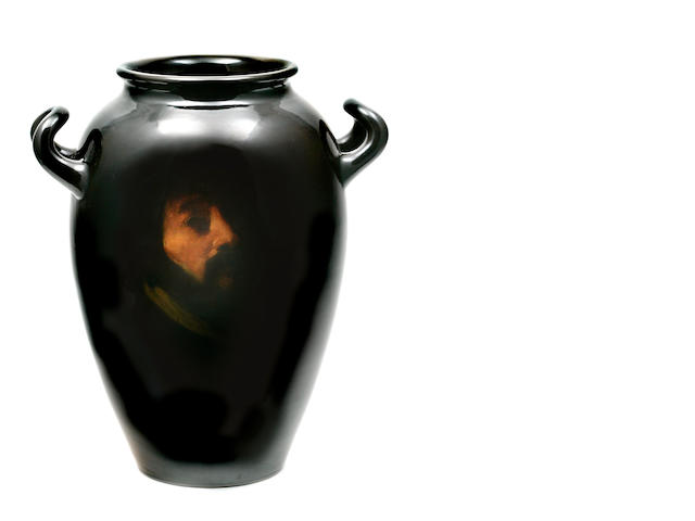 A Rookwood Pottery standard glaze two-handled portrait vase, decorated by Artus Van Briggle  dated 1900