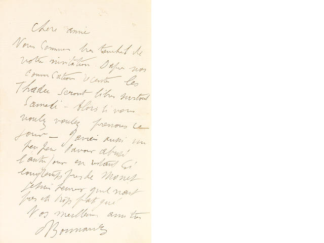 "BONNARD, PIERRE.  1867-1947.  2 Autograph Letters Signed (""Bonnard""), 2 pp, 8vo, n.p., n.d and [Lecannet, July 30, 1926], dated letter to Leon Floury and with original autograph transmittal envelope,"