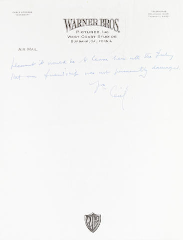 "BEATON, CECIL.  1904-1980. 4 Autograph Letters Signed (""Cecil""), 7 pp recto and verso, 4to, various places including London and Burbank, CA, [1937-c.1975], most to George Cukor,"