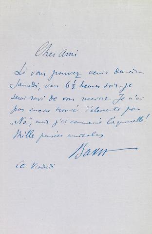 """BAKST, LEON.  1866-1924. Autograph Letter Signed (""""Bakst""""), 1 p, 4to, [London?], n.d., to Edwin Evans,"""
