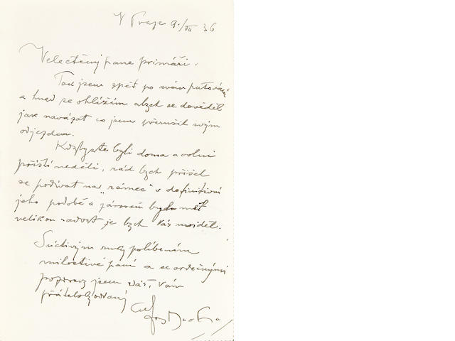 "MUCHA, ALPHONSE.  1860-1939. Autograph Letter Signed (""Alfons Mucha"") in Czech, 1 p, 12mo, Prague, July 9, 1936, to Mme Sramek,"