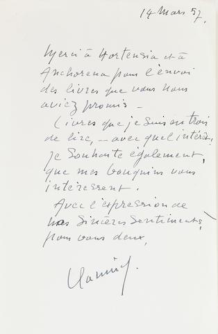 """VLAMINCK, MAURICE DE.  1876-1958. Autograph Letter Signed (""""Vlaminck""""), 1 p, 8vo, n.p., March 14, 1957,"""