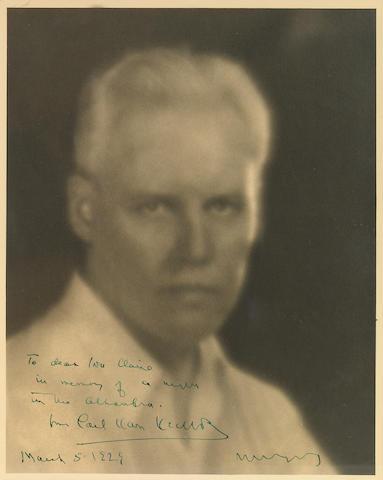 """VAN VECHTEN, CARL.  1880-1964. Photograph Signed (""""Carl Van Vechten""""), 8 x 10 inch silver print,"""