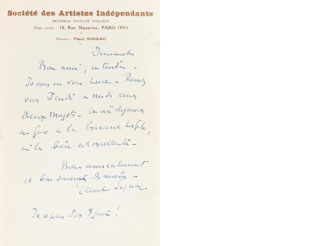 """SIGNAC, PAUL.  1863-1935. Auograph Letter Signed (""""Paul Signac""""), 1 p, 8vo, [Paris], n.d., to"""