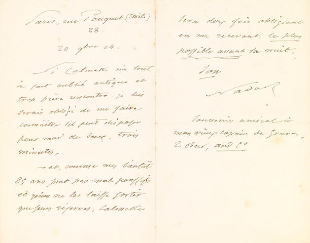 "NADAR (pseud of GASPARD-FELIX TOURNACHON).  1820-1910. Autograph Letter Signed (""Nadar""), 2 pp, 8vo (conjoined leaves),"