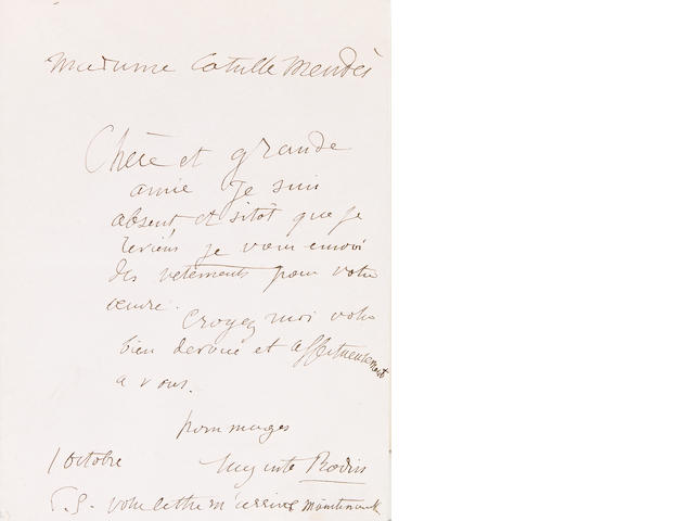 "RODIN, AUGUSTE.  1840-1917. Autograph Letter Signed (""Rodin""), 1 p, 12mo, n.p., October 1, n.y., to Madame Mendes,"