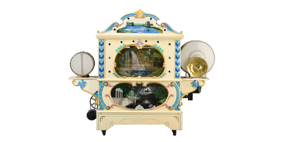 A Wurlitzer style 105 military band organ, with painted showcase façade <BR />circa 1926