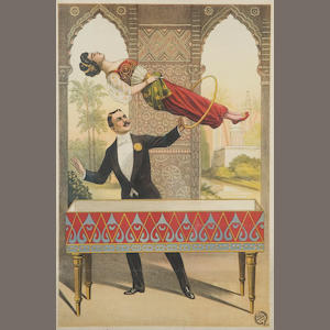 Magician suspending a lady with a hoop one sheet poster