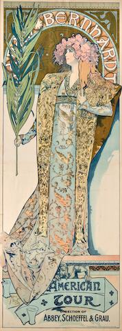 Alphonse Mucha (Czechoslovakian, 1860-1939) Sarah Bernhardt: American Tour, 1896 lithograph printed in color by The Strobridge Lithograph Co., Cincinnati & New York loose sheet, framed signed in the image (original by) Mucha  77 1/4 x 29in (196.2 x 73.7cm)