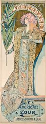 Alphonse Mucha (Czechoslovakian, 1860-1939) Sarah Bernhardt: American Tour, 1896<BR />lithograph printed in color by The Strobridge Lithograph Co., Cincinnati & New York<BR />loose sheet, framed<BR />signed in the image (original by) Mucha <BR />77 1/4 x 29in (196.2 x 73.7cm)