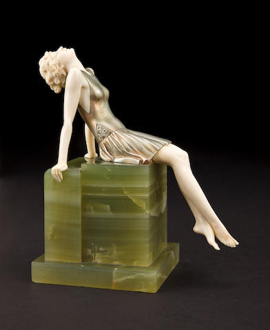 Ferdinand (Fritz) Preiss (German, 1882-1943) Sun Worshipper, circa 1925 <BR />cold-painted bronze and ivory, onyx base <BR />unsigned<BR />height 7 1/2in (19cm)