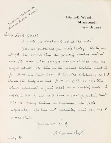 CONAN DOYLE, ARTHUR, SIR. ALS, 1pp, [1930], to Lord Gorell