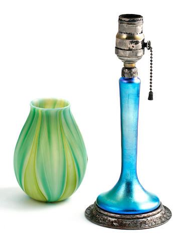 A Steuben Aurene glass and Roycroft silver-plated copper boudoir lamp base and Tiffany Studios favrile glass tulip shade 1899-1918