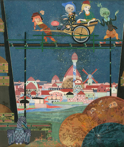 "DE BOSSCHERE, JEAN. 1878-1953. ""The City Curious,"" mixed media,"