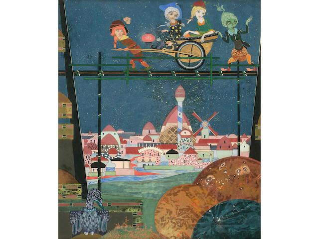 "DE BOSSCHERE, JEAN. 1878-1953. ""The City Curious,"" mixed media,"