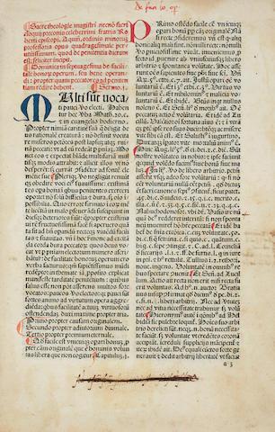 CARACCIOLUS, ROBERTUS. 1425-1495. Sermones de quadragesimales, de adventu, de timore.... Venice: Gabriel de Grassis, 1485.<BR />