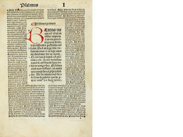 KOBERGER PSALTER. Psalterium beati Brunonis episcopi herbipolensis. Nuremberg: Anton Koberger, 1494.<BR />