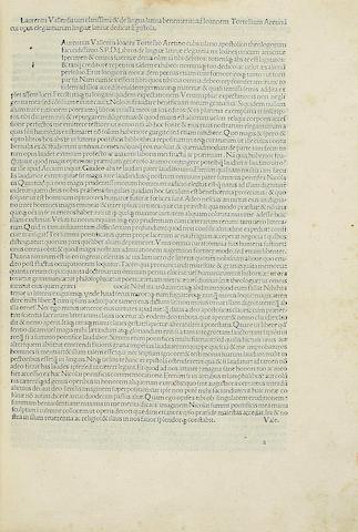 VALLA, LAURENTIUS. 1406-1457. Elegantiae de linguae latinae. Venice: Philippus Pincius, February 8, 1492.<BR />
